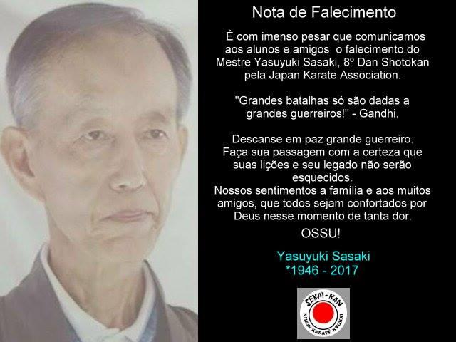 Nota de falecimento Sensei Sasaki